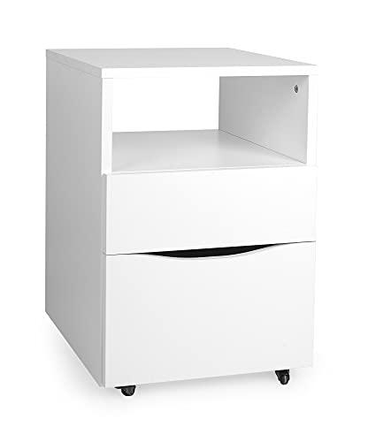 Leomark Muebles para niños y Adolescentes, habitación Infantil, Mesa de Ordenador, Escritorio, Mesa de Oficina, Color Blanco (Cajonera)