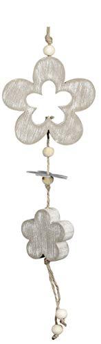 dekojohnson rustieke bloemen-decoratieve hanger van hout en metaal raamdecoratie bloemenraam hanger Moederdag grijs 24cm landelijke stijl