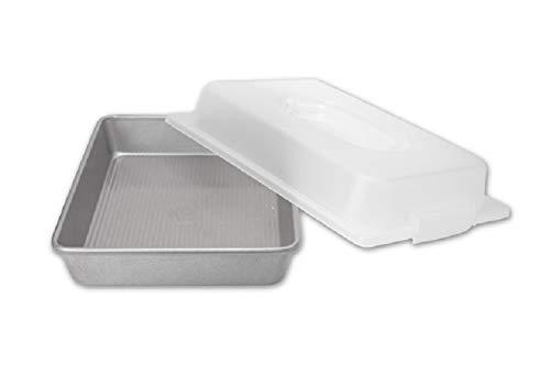 USA Pan Bakeware Nonstick Rectangular Pan with Lid, 9x13-Inches