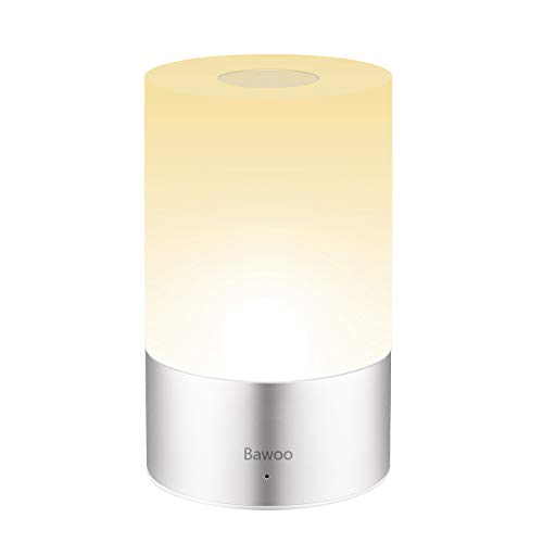 Lámpara de Mesa LED Lámpara de Noche Lámpara Atmósfera Bawoo Táctil Lámpara de Tabla LED Decoración Recargable USB Mesa Luz Multicolor 256 RGB & Blanca Cálida Regulable 3 Brillo Niños Dormitorio Bar