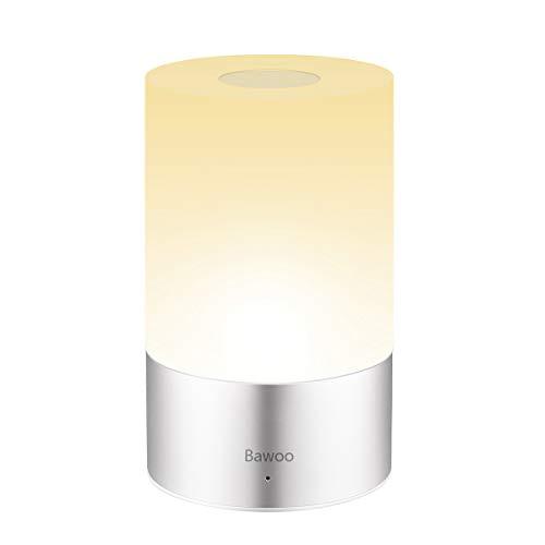 Nachttischlampe Tischleuchte LED Touch Nachtlicht, Bawoo Dimmbar Nachttischlampe Tischlampe mit Touchfunktion Mehrfarbig Nachttisch-Leuchte für Schlafzimmer