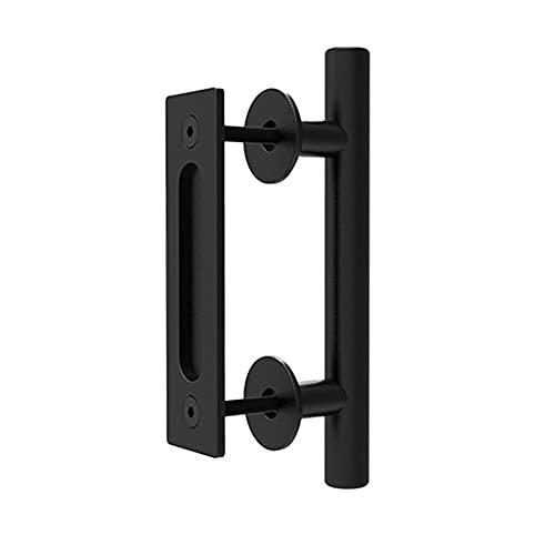 CCJH Manija de la Puerta del Granero Corredera Tirador de Manija de Puerta Negra Moderno para Puerta de Madera (24 cm)