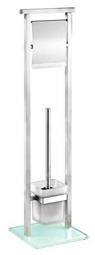 WENKO Stand WC-Garnitur Debar Edelstahl - WC-Bürstenhalter, Edelstahl rostfrei, 18 x 73 x 18 cm, Satiniert