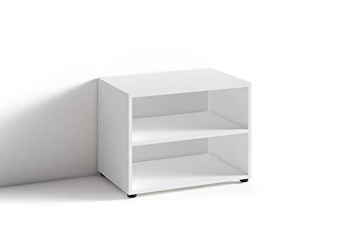 HOMEXPERTS TV Stand VANCOUVER / kleines Regal weiss / Beistelltisch 60 cm breit / Wohnzimmertisch / Schrank / TV Bank / TV Tisch / Weiß / 60 x 45 x 39 cm (BxHxT)