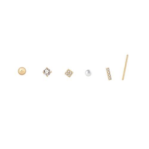 LDH 925 Silver Needle Earrings Simple and Compact Temperament Wild Street Sleeper Earrings Set Combination Earrings Cubic Zirconia Stud Earrings Set
