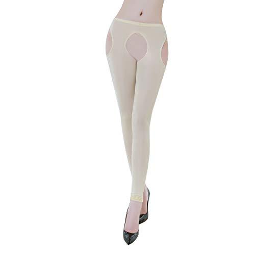 FYMNSI Damen Ouvert Leggings Transparent Lang Hose Dessous Offenem Schritt Leggins Strümpfhose Erotik Unterwäsche Reizwäsche Aushöhlen Figurformend Lingerie Nachtwäsche Aprikose