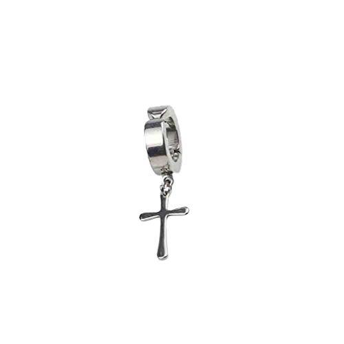 Diseño Cruzado Ganchos para la Oreja Pendientes de Clip no perforantes Pendientes Falsos Plata Fina