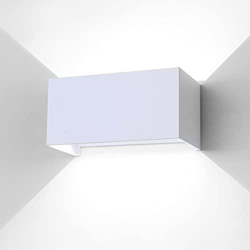 ENCOFT 24W COB LED Applique Esterno e Interno, Lampada da Parete Muro Esterno IP65 Impermeabile, Luce Bianco Freddo 6000K, in Alluminio Angolo Regolabile Lampada Parete, Bianco