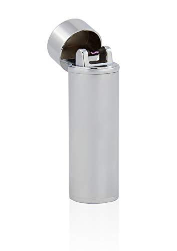 TESLA Lighter TESLA Lighter T02 Lichtbogen Feuerzeug, Plasma Single-Arc, elektronisch wiederaufladbar, aufladbar mit Strom per USB, ohne Gas und Benzin, mit Ladekabel, in Edler Geschenkverpackung, Silber Silber
