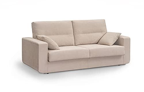 MUEBLIX.COM | Sofa Cama Italiano BOLONIA | Sofas de Salón Modernos | Asientos y Respaldo Espuma | Sofa Tapizado en Tela y Armazon de Madera de Pino | Color Tierra