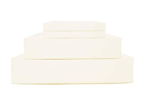 100% Cotton Percale Sheets Twin Size, Ivory, Deep Pocket, 3 Piece - 1 Flat, 1 Deep Pocket Fitted Sheet and 1 Pillowcase, Crisp and Strong Bed Linen