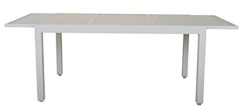 GARDENho.me Hochwertiger Aluminium Ausziehtisch mit Glasplatte 160-220x90 cm Silber Gartentisch Terrassentisch