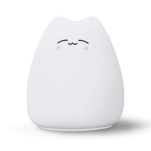 LED Night Light for Kids, Battery Powered Silicone Cat Night Light Cat Lamp, Multicolor Cute Nursery Night Lights with Warm White and 7-Color Breathing Modes for Kids, Baby, Children(Clever Cat)