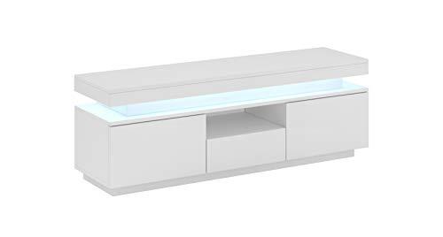 Mueble TV Modelo Persis (130cm) Blanco – Todo el Mueble PVC Alto Brillo