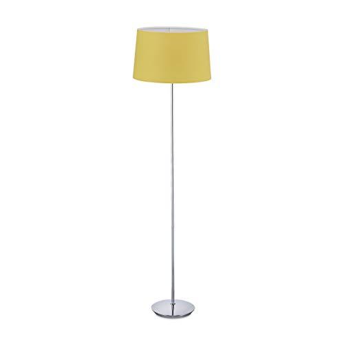 Relaxdays Stehlampe mit Stoffschirm, verchromter Fuß, E27 Fassung, Ø 40 cm, Wohnzimmer, Stehleuchte 148,5 cm hoch, gelb