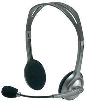 Logitech H110 Auriculares con Cable, Sonido Estéreo con Micrófono Giratorio, Dos Clavijas de Conexión Jack 3,5mm, PC/Mac/Portátil , Negro