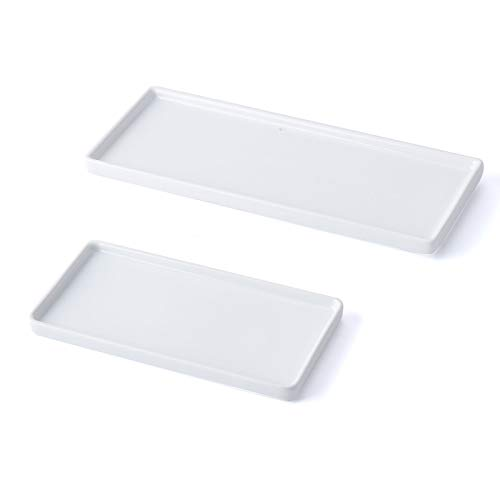 XINRUI Vanity Tray, 2 Pack Bathroom Sink Storage Tray,Ceramic Bathtub Tray Organizer Cosmetics Holder for Tissues, Candles, Towel, Soap, Towel, Plant,Jewelry