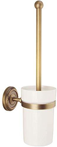 Borstel van het toilet Copper European Style Wall Mounted wc borstelhouder Toiletborstel Bekerhouder met koperen Construction for badkamer opberg Deep Cleaning (Kleur: Brons, Afmetingen: 14 * 36cm) 8b