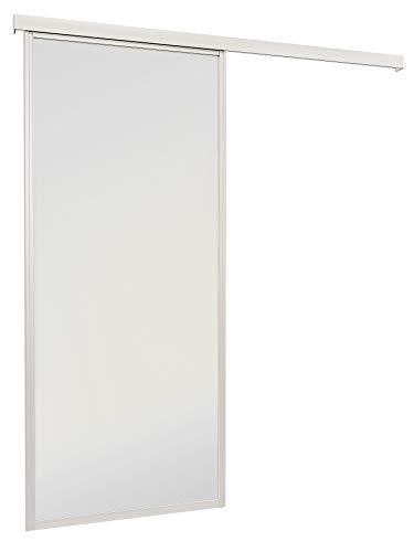 inova Schiebetür Glas-Schiebetür Zimmertür 865x2035 mm weiß matt mit umlaufendem 33 mm Alu-Profil Komplettset mit Laufschiene & Glastür