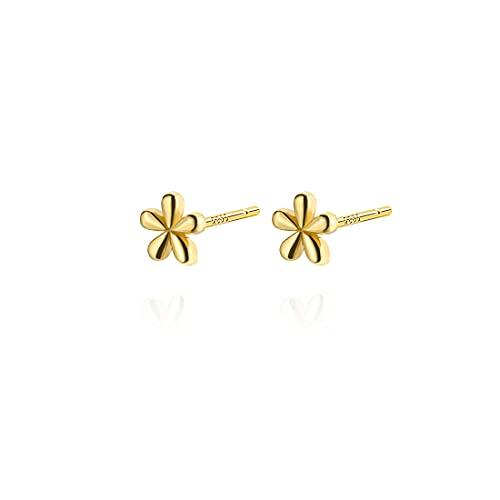 Reffeer Tiny Flower Stud Earrings Cute Flower Earrings Studs for Women Teen Girls 925 Sterling Silver Daisy Flower Earrings Tragus Post Earrings (B-Yellow Gold)