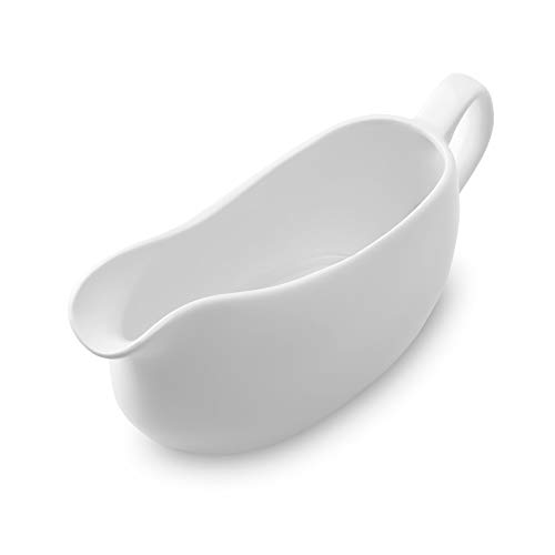Nucookery Large 14 Oz Gravy Boat With Ergonomic Handle | White Fine Porcelain Saucier With Big Dripless Lip Spout | For Gravy, Warming Sauces, Salad Dressings, Milk, More | Microwave & Freezer Safe