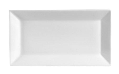 CAC China KSE-13 Kingsquare Porcelain Rectangular Platter, 11-1/2' x 6-1/4', Super White, Box of 12