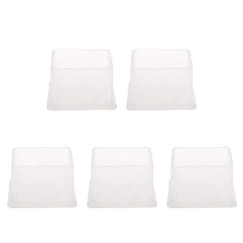 YeVhear Clear PVC Hautschutzhauben, Anti-Tip Feet Cover Furniture Glide Floor Protector, 5 Stück, 30 x 30 mm, Innengröße, reduziert Lärm, verhindert Kratzer