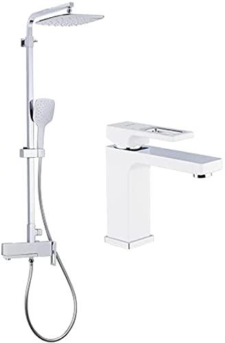 LFERRTYZ Ducha de baño Sistema de Ducha Grifos de bañera Grifo de Agua de latón Grifos de baño cromados y Blancos con Grifo de Lavabo Juegos de mezcladores de Ducha de baño