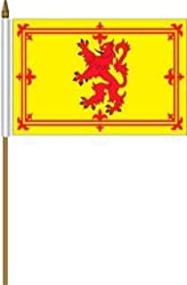 Scotland Lion Rampant Small 4 X 6 Inch Mini Country Stick Flag Banner with 10 Inch Plastic Pole .. Great Quality Polyester ... New