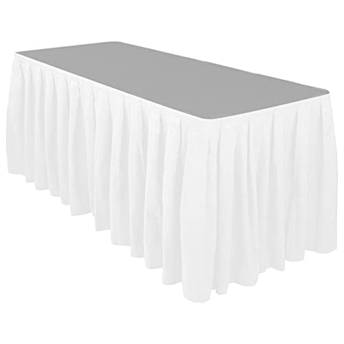 17 ft. White Accordion Pleat Polyester Table Skirt