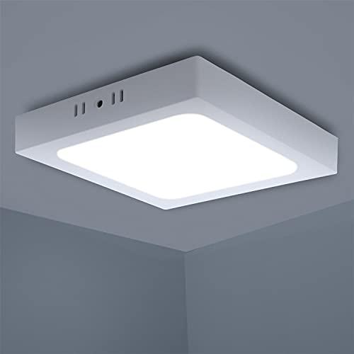 Aigostar Lampada da Soffitto LED Bagno, 12W Equivalente a 120W, alta luminosità, Plafoniera LED Soffitto 960LM 6500K Luce bianca fredda, Plafoniera dritta led per Soggiorno Sala da Pranzo, D173*H35mm