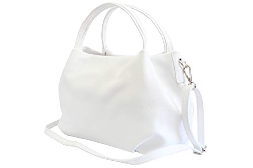 Ambra Moda bolsa de mano, bolsa de hombro para mujer de piel GL023 (Blanco)