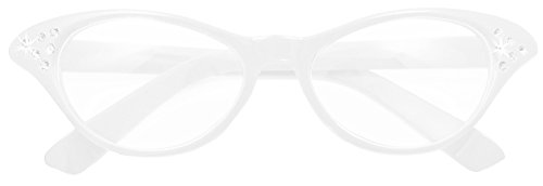 Fifties Cat Eye Brille Diamond Weiß