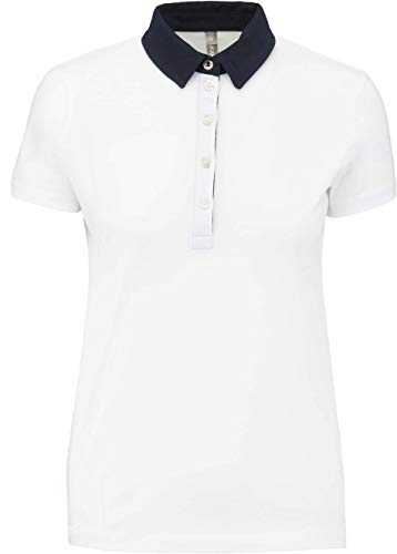 Kariban Polo Jersey Bicolore Femme - White/Navy, M, Femme