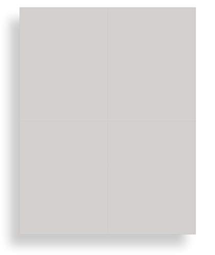 Blank Colored 4-up Postcard Paper by Desktop Publishing Supplies - 25 Sheets / 100 Postcards Pack - Printable with Laser or Inkjet Printer - Plain Matte Cardstock (Plain Grey)