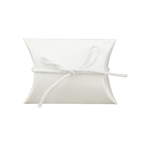 Amosfun 100pcs Pillow Candy Boxes White Paper Candy Gift Boxes Wedding Party Favor (with Hemp Rope)