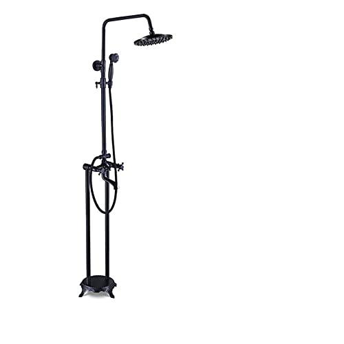 KUELXV Ducha de mano Grifo de bañera montado en el suelo, grifo mezclador de ducha de baño independiente con patas de garra con ducha de mano 8, bronce negro
