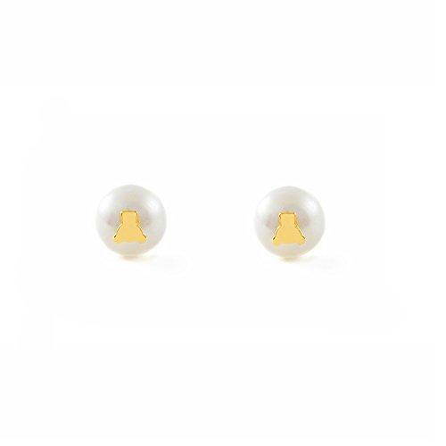 Monde Petit T1808P - Pendientes de bebe/niña oro 18 kts. perla osito
