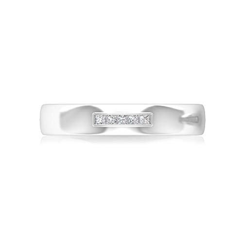Anillo de boda con diamante certificado IGI de 0,15 ct, de corte princesa, simple, para mujer, de compromiso, oro sólido, ancho, promesa, 14K Oro blanco, Size:EU 57
