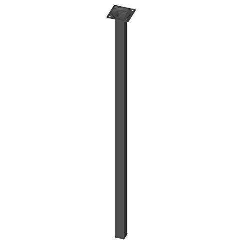Element System 4 Stück Stahlrohrfüße eckig, Tischbeine schwarz, Möbelfüße inklusive Anschraubplatte, 70 cm, 10 Abmessungen und 4 Farben