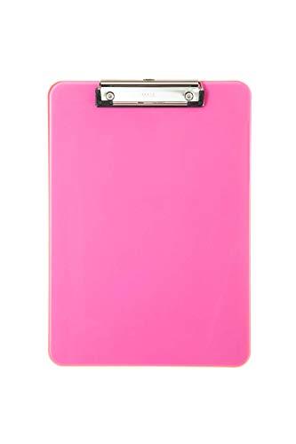 Maul 2340621 Schreibplatte, Kunststoff mit Bügelklemme, Klemmbrett A4 hoch, Aufhängöse, pink