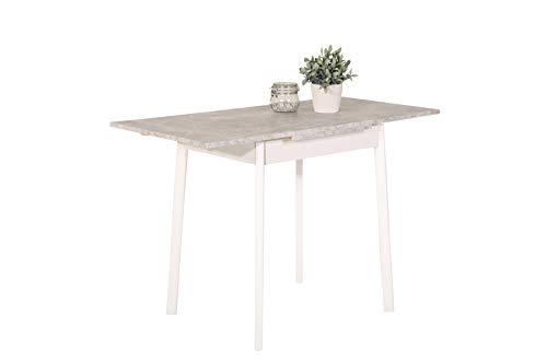 Küchentisch Trier II, Tischplatte Dekor Beton, 4-Fuß Buche massiv weiß lackiert, ausziehbar, 75-112x55x74cm
