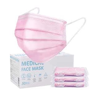 SOYES Masken Mundschutz 50 stück Medizinischer Mundschutz CE Zertifiziert - TYP IIR Mundschutz Einweg maske - Medizinische Masken Gesichtsmaske Mund Nasen Schutzmasken für Erwachsene,Rosa