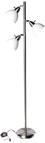 Boston Harbor TL-TREE-648 Three Lights Tree Lamp, 65', Satin Nickel