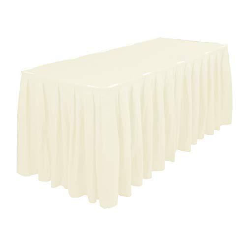 Plissiert Tisch Rock mit Nylon Verschluss Polyester Tuch Easy Aufsatz Maschinenwaschbar und Trockner Freundlich - Geburtstagsfeiern, Hochzeiten und Formale Feiern - Creme, 21 Feet