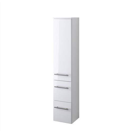 Held Möbel 219.2096 Parma Midischrank , 1 türig / 2 Auszüge / 2 Einlegeböden / 25 x 130 x 27 cm, Hochglanz-weiß