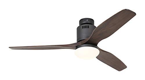 Aérodynamix Eco Ventilateur de plafond avec télécommande Gris basalte avec lames en bois de noyer 132 cm