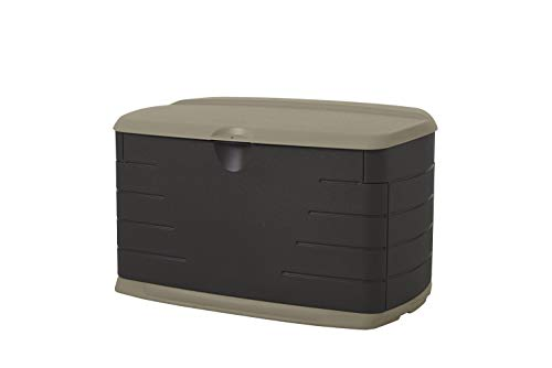 Rubbermaid Medium Resin Weather Resistant Outdoor Garden Storage Deck Box, Sandstone