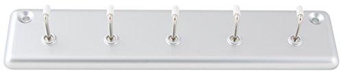 Fackelmann Hakenleiste TECNO, Garderobenleiste zum Aufhängen, Wandgarderobe aus Kunststoff (Farbe: Silber/Weiß), Menge: 1 Stück
