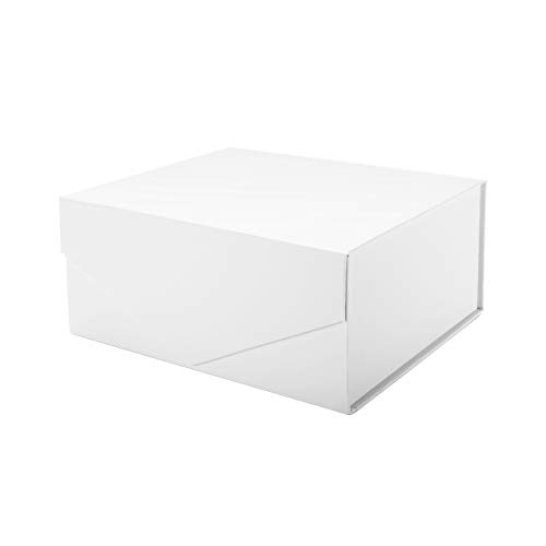 PACKHOME Gift Box 9.5x7x4 Inches, Bridesmaid Box, Rectangle Collapsible Box with Magnetic Lid for Gift Packaging (Matte White, Grid Pattern